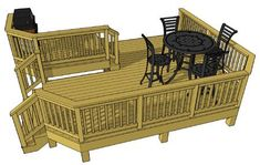 Free deck plans L switchback staircase Free Deck Plans, Deck Cost, Deck Building Plans, Laying Decking, Diy Deck, Staircase Design, Deck Design, Little Houses, A Table