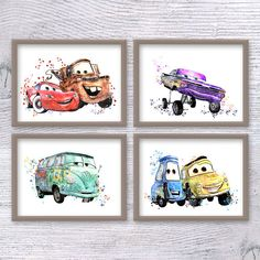 Disney Cars Set of 4 Cars Disney poster Cars watercolor print Lightning McQueen wall decor Cars pit crew illustration Kids room decor ♥ SAVE ♥ ordering from this listing! More prints with Bambi you can see here Boys Car Bedroom, Car Themed Bedrooms, Boy Room, Lightning Mcqueen, Disney Cars Room, Flash Mcqueen, Disney Wall Decor, Disney Bedrooms, Disney Posters