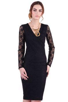 Rochie Nora din Dantela Neagra – Karla.Club Pumps Nude, Formal Dresses, Club, Black, Fashion, Moda, Formal Gowns, Black People, La Mode