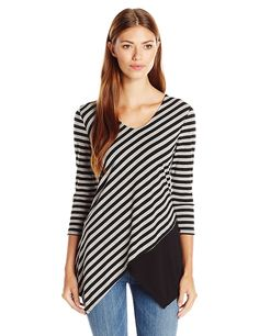 NY Collection Women's Printed 3/4 Sleeve Vneck Stripe Top with Solid Panel ** This is an Amazon Affiliate link. Check this awesome product by going to the link at the image.