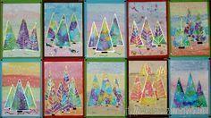 Tekenen en zo: Kleurige kerstbomen