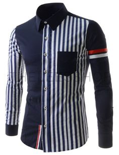 (CEL54-NAVY) Mens Casual Slim Fit Stripe 1 Chest Pocket Stretchy Long Sleeve Shirts Mens Casual Suits, Casual Wear For Men, Casual Shirts, African Men Fashion, Mens Fashion, Fashion Outfits, Camisa Tribal, Mens Designer Shirts, African Shirts