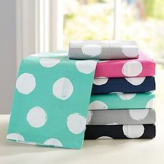 Would love to get the pink one for Alena, but they don't have her bedding size. Why no size full Pottery Barn!??... :( Aw. So cute! Dot Chic Sheet Set #pbteen