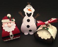 Curvey Keepsake boxes   Santa, Christmas Pudding & Olaf  Made by friends & I