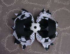 Soccer Hairbow, Black & White Soccer Hair Clip, Soccer Bow, Sport Hair Accessories, Sports Hair Bow, Toddler Girl Teen Adult by SewCuteBoutiqueBow on Etsy