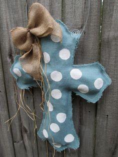Burlap Cross Burlap Door Hanger Blue Grey with Polka Dots on Etsy, $28.00