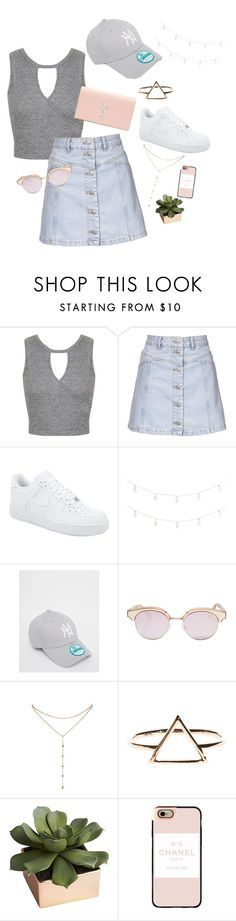 """Shorts instead """"Untitled #23"""" by sanna-emilie ❤ liked on Polyvore featuring Miss Selfridge, Topshop, NIKE, Pier 1 Imports, New Era, Le Specs, GUESS by Marciano, CB2, Casetify and Yves Saint Laurent"""