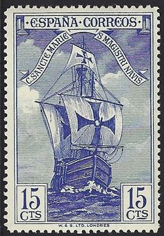 "Spain Scott #424 (29 Sep 1930) Bow of Santa María. This stamp is in a set of 16 (Scott #418-32, E8) in tribute to Christopher Columbus.      The stamps were privately produced and the Spanish Postal Authorities placed them on sale for only three days. There are many so-called ""errors"" of color & perforation."