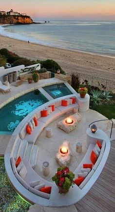 outdoor living - that would be a great beach house for the vacation! Outdoor Spaces, Outdoor Living, Outdoor Kitchens, Luxury Pools, Luxury Cars, Dream Pools, Cool Pools, Pool Designs, My Dream Home