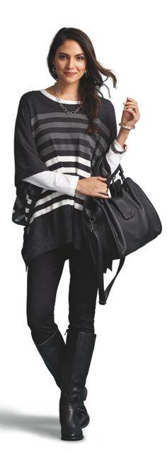 Striped Poncho and Black Jaffe Handbag | Dream closets do come true! Head to www.dressbarn.com... to enter for a chance to win* $1500 to make yours a reality.
