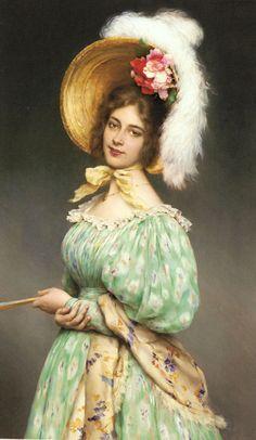 Eugene de Blaas (Austrian/Italian 1843-1932)  Musette 1900.