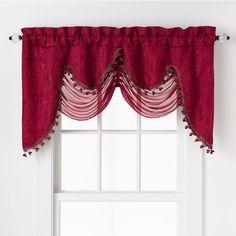 "HLC.ME Portofino Burgundy Jacquard Curtain Valances - 52"" inch by 28"" inches"