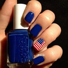 red, white and blue | flag | forth of july | #NailArt Easy