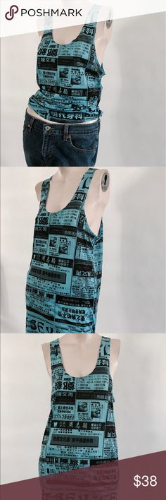 Betsey Johnson tank dress Slightly oversized Betsey Johnson Japanese news paper print tank dress in blue and black in a size s/m Betsey Johnson Tops Tank Tops