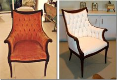 I want to do this to my chairs DIY: Painted Upholstery (many examples all in one spot)