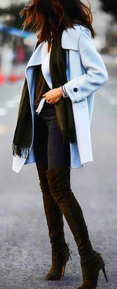 Over the knee side boots • chic pastel blue coat • Street CHIC • ❤️ Curated by Babz™ ✿ιиѕριяαтισи❀ #abbigliamento