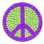 Peace Sign Crystal Rhinestone Removable Decal Sticker Purple & Green www.CrystalCase.com
