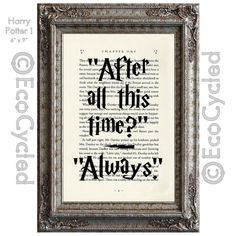 Always from Harry Potter Inspirational Quote on Vintage Upcycled Dictionary Art Print Book Art Print Recycled Professor Snape