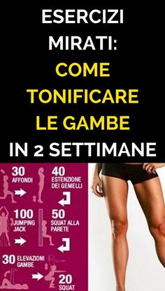 Esercizi Mirati Come Tonificare Le Gambe in 2 Settimane – Fitness training Workout for Beginners Fitness Motivation, Tips Fitness, Planet Fitness Workout, Muscle Fitness, Fitness Diet, Yoga Fitness, Health Fitness, Free Fitness, Fitness Style