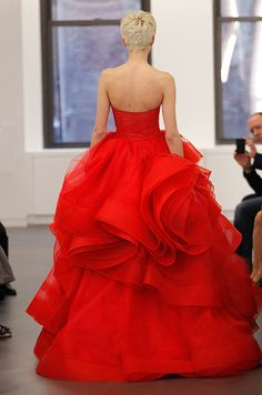 A dramatic red wedding gown by Vera Wang, Spring 2013.
