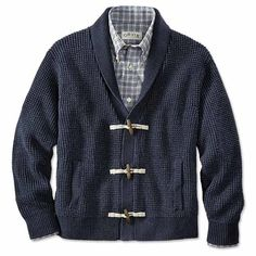 The rugged personality and familiar coloration of your favorite jeans-handsomely presented in a casual cotton shawl cardigan for men. Knitted in a robust waffle stitch and trimmed with a textural ribbed finish at the cuff and hem. Three-toggle front closures, two pockets. In dark indigo. Pure cotton. Washable. Imported.  <br />Sizes: M(38-40), L(42-44), XL(46-48), XXL(50-52).