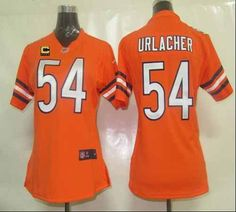 Nike Bears  54 Brian Urlacher Orange Alternate With C Patch Women s  Embroidered NFL Elite Jersey a9345c49c