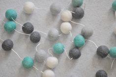 Items similar to Quality Felt Ball Garland - Aqua-Grey- Nursery Decor- Pom Pom Garland- Kids Decor- Cake Smash on Etsy Felt Ball Garland, Baby Decor, Nursery Ideas, Stud Earrings, Etsy Shop, Grey, Unique Jewelry, Handmade Gifts, Vintage