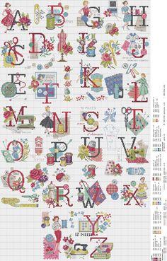 Cross stitch / Point de croix / Punto de cruz / Punto croce - alphabet / abécédaire / abecedario / alfabeto - Audrey