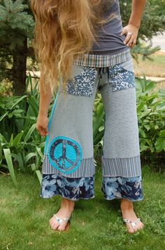 Patchwork Eco Gaucho PANTS, upcycled, clothing, cropped, yoga, pockets, blue and gray mix,peace sign applique, size S/M by Zasra