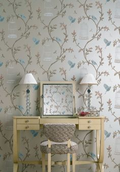 nina-campbell-birdcage-walk.png 450×647 pixels Like this wall paper - not so sure about the dressing table