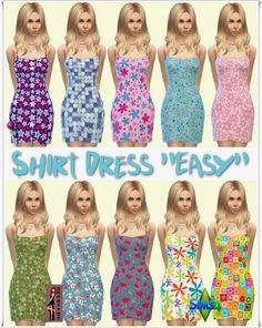 "Annett`s Sims 4 Welt: Shirt Dress ""Easy"" • Sims 4 Downloads"