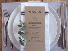 A customised printable menu design that will look perfect on any table. You can print this design on any colour paper stock - See additional images Feel free to contact me if you would like to add colour into the design. PLEASE NOTE: This listing is for a digital file only, NO
