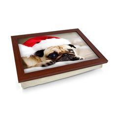 Pug Dog Wearing A Santa Hat Lap Tray - Personalised Gift Personalised Gifts Unique, Unique Gifts, Lap Tray, Laptop Desk, Dog Wear, Breakfast In Bed, Santa Hat, Cloth Bags, Christmas Themes