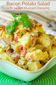 Bacon Potato Salad with Sweet Mustard Dressing. This satisfying bacon potato salad with a sweet and tangy mustard dressing borrows the best from a combination of a few favourite potato salad recipes. Potato Salad Recipe Easy, Potato Recipes, Sausage Recipes, Side Dishes For Bbq, Side Dish Recipes, Dinner Recipes, Healthy Cooking, Cooking Recipes, Healthy Recipes