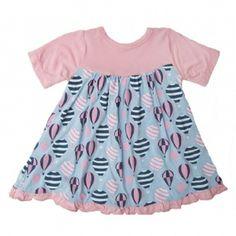 Print Short Sleeve Swing Dress in Girl Balloon