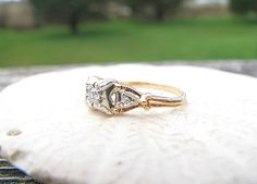 Sweet Art Deco Engagement Ring, Old European Cut Diamond, Charming Details and Good Quality, 14K Gold, Circa 1930s to 1940s