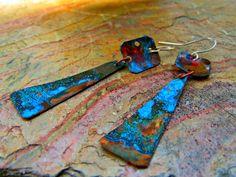 """Vibrance - Handmade copper earrings - 2 1/2"""" by juliettemwilliams on Etsy"""
