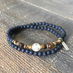 Aromatherapy lava stone, yellow quartz and tiger´s eye gemstones to represent and energize the, Solar Plexus chakra which is our third chakra. It wraps as a bracelet, (stringed on thick hi-tec elastic
