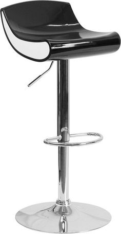 Flash Furniture Contemporary Black and White Adjustable Height Plastic Barstool with Chrome Base
