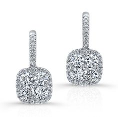 18K WHITE GOLD CONTEMPORARY INSPIRED CLUSTER DIAMOND EARRINGS EMBEDDED WITH ROUND WHITE DIAMONDS, FEATURES 1.34 CARAT TOTAL WEIGHT