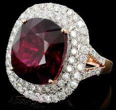 18K Gold 18.74ct Tourmaline  2.37ct Diamond Ring