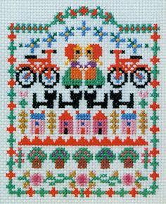 Ondori cross stitch   makes me think of Amsterdam bikes row houses cats