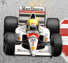 Ayrton Senna and his MP4-6  (Illustration by Pigeon-Capsule)