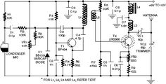 The wireless fm transmitter circuit described here has an extra RF power amplifier stage, after the oscillator stage, to raise the power output to Dc Circuit, Circuit Diagram, Circuit Board, Hobby Electronics, Electronics Gadgets, Electronics Projects, Electronics Basics, Electronic Engineering, Electrical Engineering