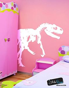 Dinosaurs Vinyl Wall Art Raptor Bones Wall Decal Sticker 72in Tall x 101in Wide WHITE Facing to the right Easy to Apply  Removable MMartin154BWHITE ** To view further for this item, visit the image link. (This is an affiliate link and I receive a commission for the sales)
