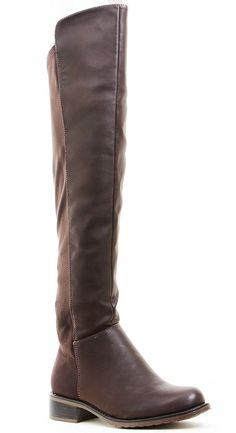 4046e4809e85 Stretchy Brown Faux Leather Over the Knee Riding Women s Boots