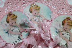 6 Ballerina Shabby Chic Pink Cupcake Toppers by MyHollyBlossom, $6.00