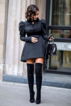 Love this puff sleeve dress and thigh high boots! Women's fall street style fashion clothing outfit mini dress lolita