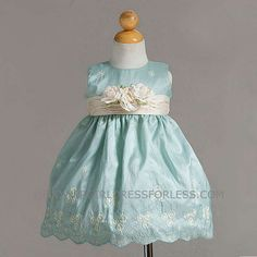 CK_BC886AQ - Flower Girl Dress Style BC886- Embroidered Taffeta Dress with 3 Flowers - Turquoise - Flower Girl Dress For Less