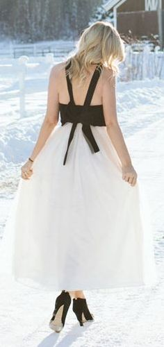White Winter Tulle Maxi Skirt by A Little Dash Of Darling